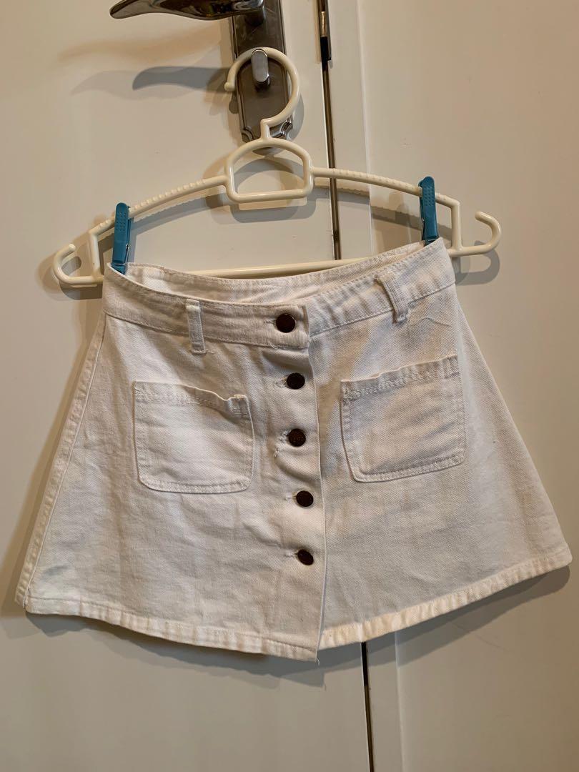 Button On Denim Skirt (White)