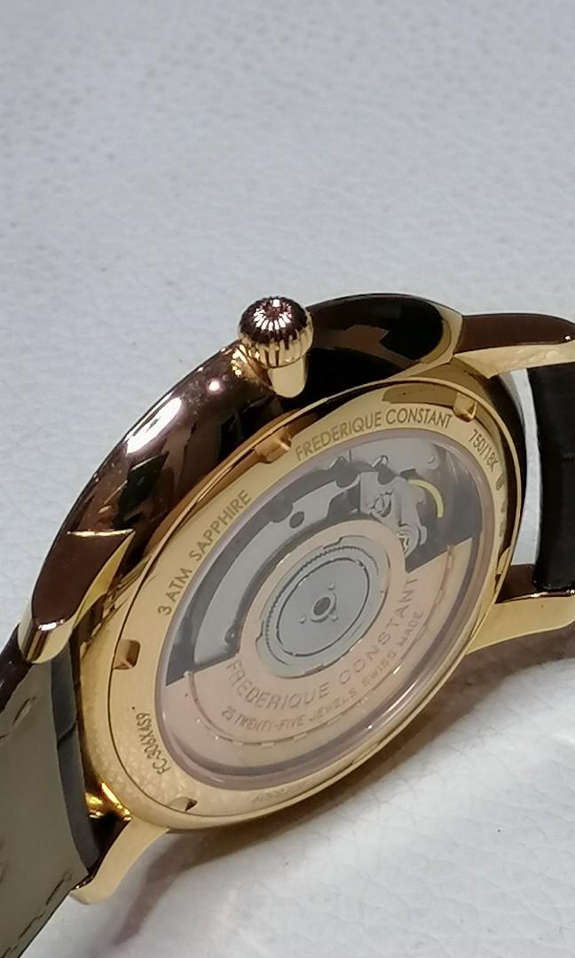 Frederique Constant Rose Gold 18k gold case IWC JLC Vacheron Constantin Moser Patek Rolex Cartier Chopard LV Prada Chanel