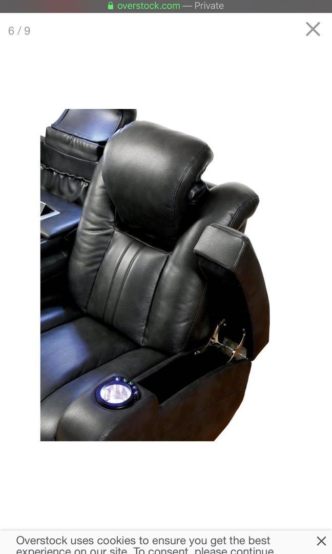 Furniture of America Weer Modern Black Faux Leather Reclining Sofa