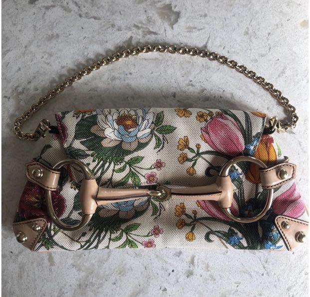 Gucci Flora Canvas Clutch Bag