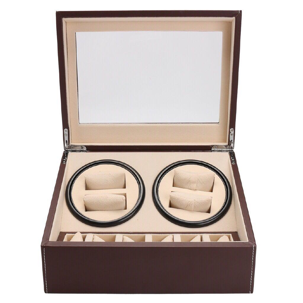 *SALE* BNIB Automatic classic watch Black Watch Winder Wood Box (PU Brown/ White) for 4 watches winding with 6 watches slot
