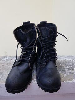 Sepatu Boots PDL Cowok Laki-laki Hitam Size 45