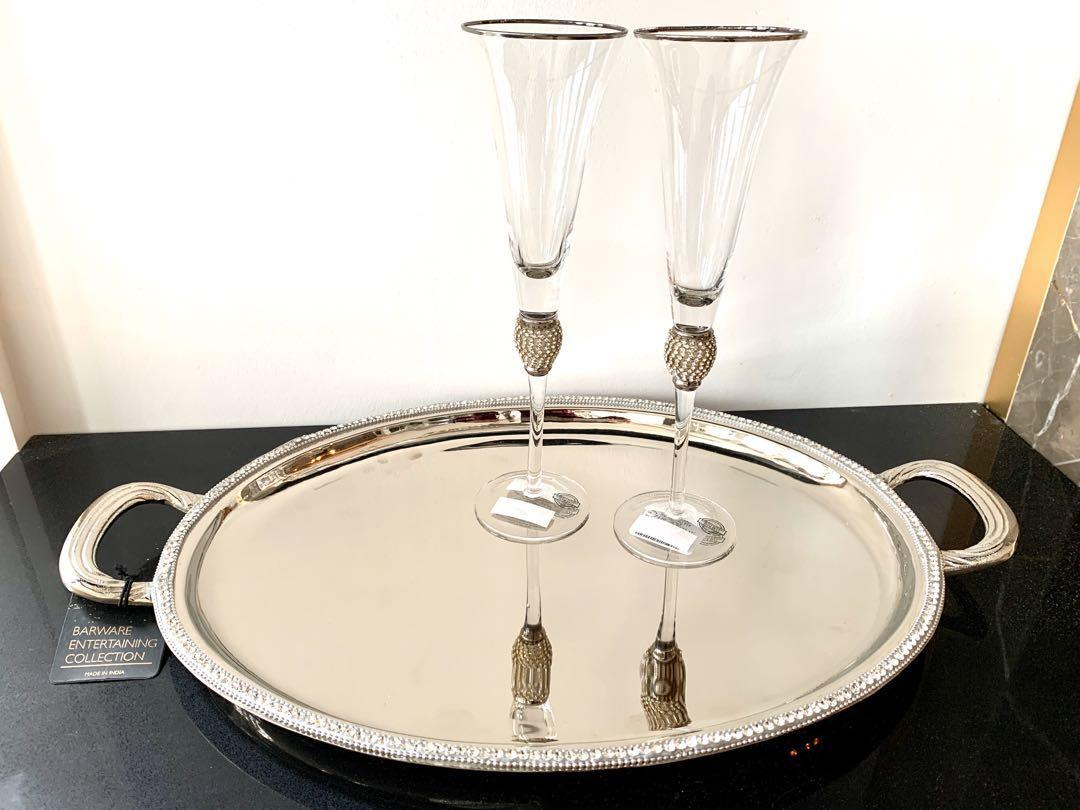 Stainless steel tray with crystal