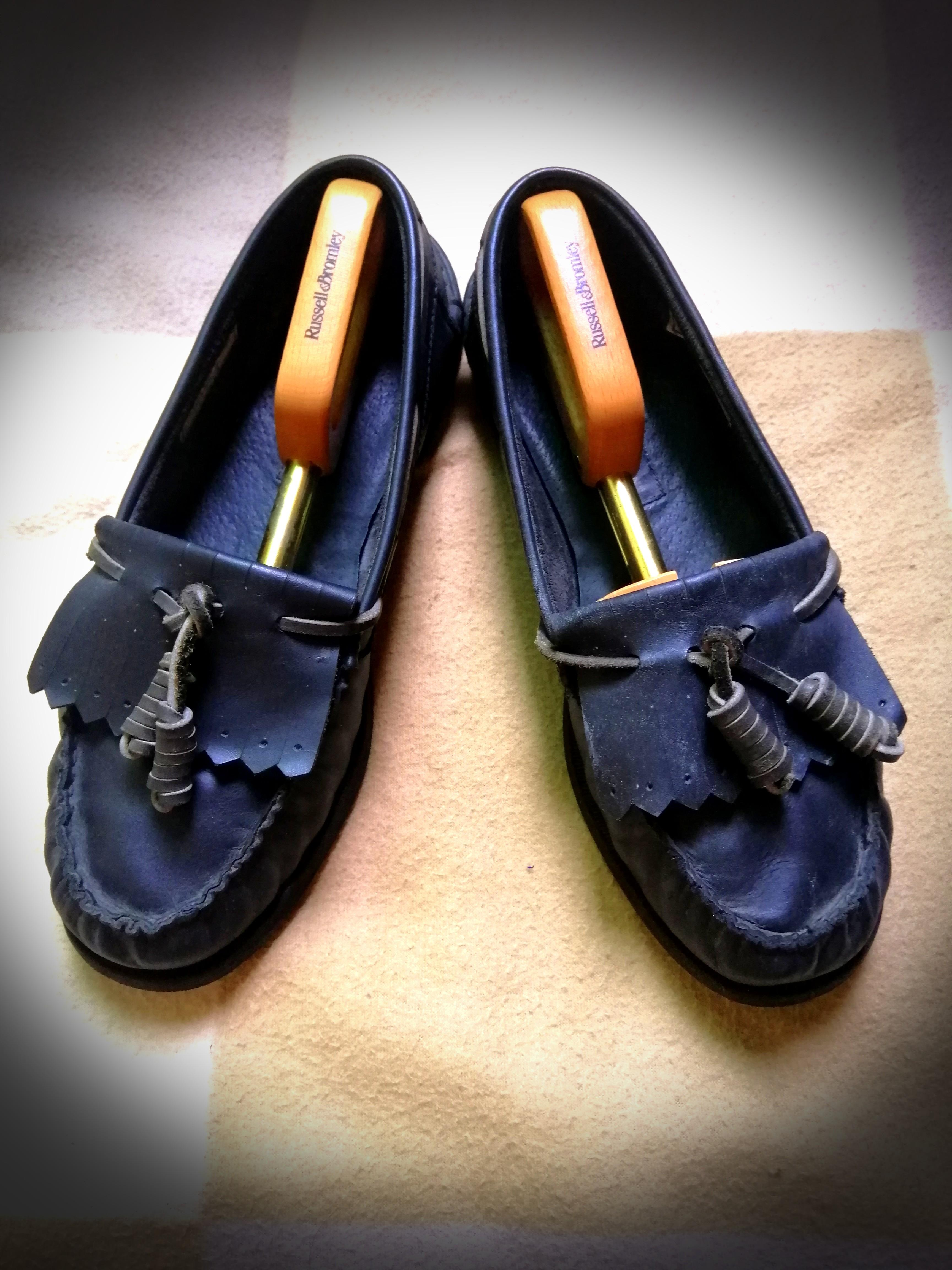 Russell Bromley Size 40.5// UK6.5 Mens Black Leather Slip On Tassle Loafers Shoes