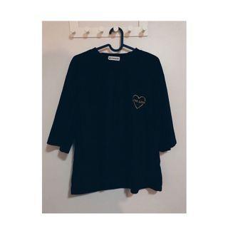 #八成新 黑色絨毛T-shirt #絨布#上衣