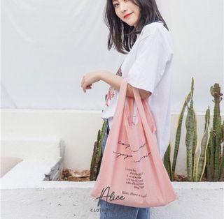 Alice現貨🎀棉麻背心包    手提包 環保袋 購物袋 餐具袋 側背包 韓版百搭 大容量 便當袋 復古包 帆布包