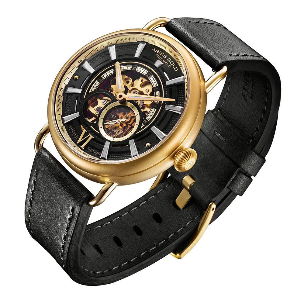 ARIES GOLD AUTOMATIC ROCKY LIMITED EDITION GOLD STAINLESS STEEL INVINCIBLE G 9013 G-BK LEATHER STRAP MEN'S WATCH