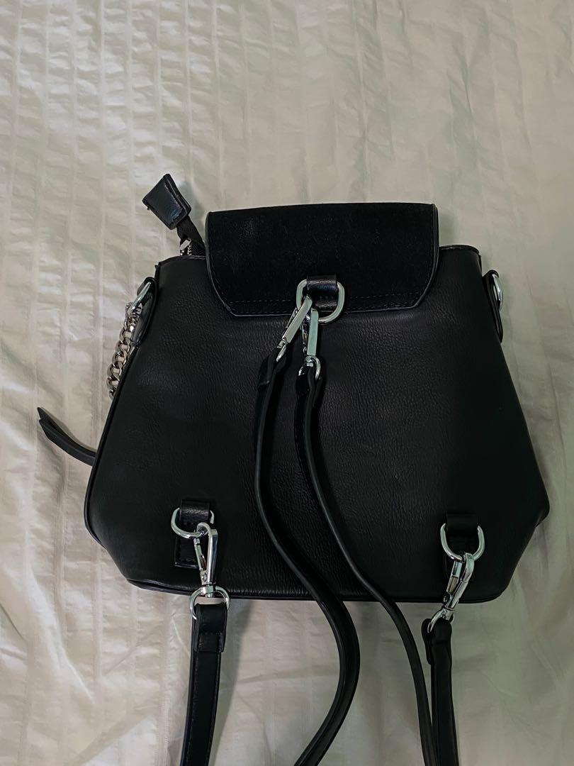Black Faux Leather Mini Backpack Purse O-Ring Detail