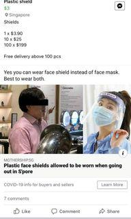 Face Shield - Peel and use.  Washable.