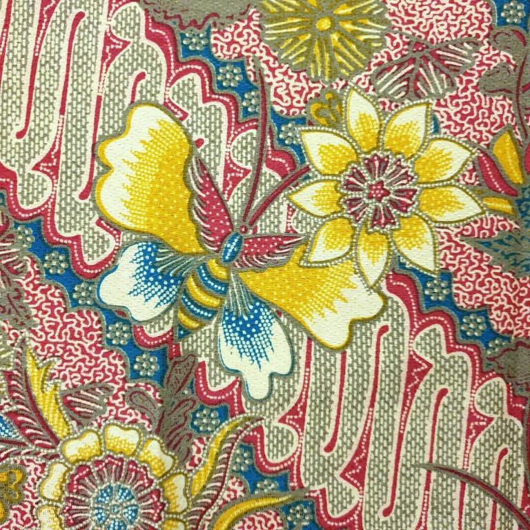 Indonesian Javanese Batik Fabric Diagonal Long Cloth Decor Dress, Vintage & Collectibles
