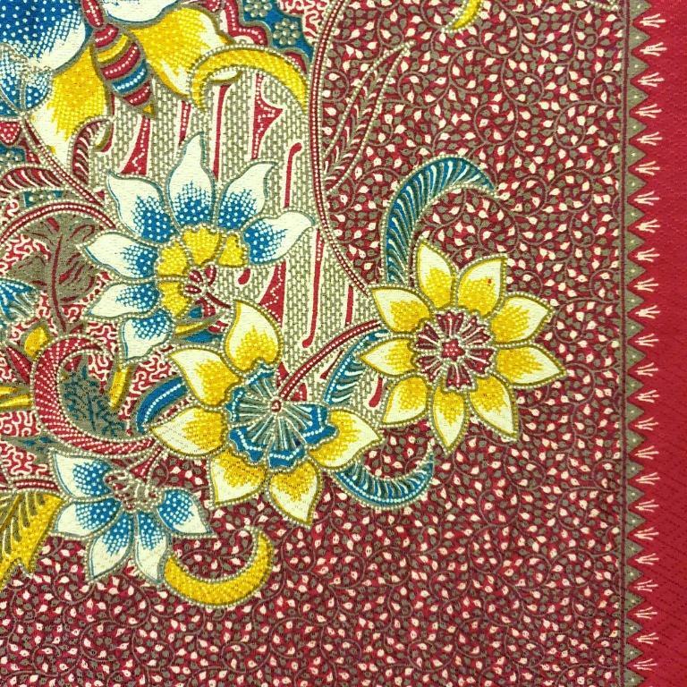 Indonesian Javanese Batik Fabric Diagonal Long Cloth Decor