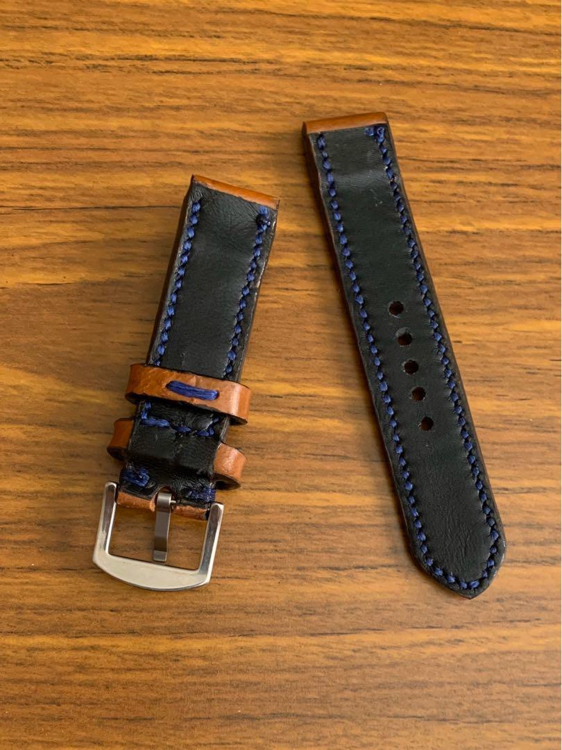 20mm/20mm Calf Leather- Whiskey Brown Leather with Monaco Blue stitching and comfortable Goatskin leather lining  (only piece like that, once sold no more 🙏🏻😊) Standard Length- L:120mm S:75mm