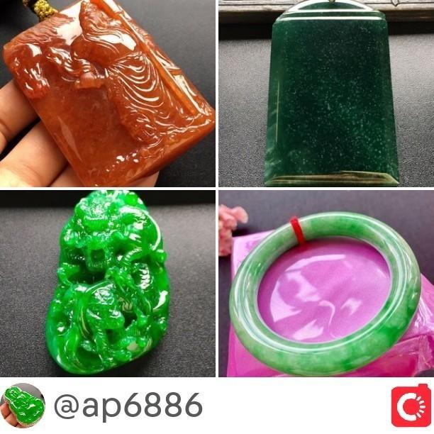 •Natural jadeite pendant bangle