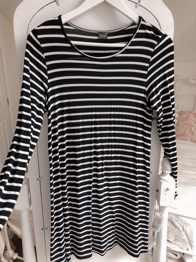 striped long sleeved tshirt dress