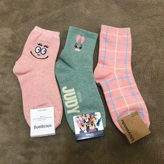 韓國襪子🧦(迪士尼、泡泡先生、粉色格子)
