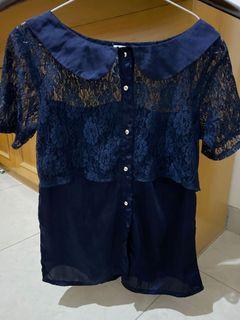 Baju renda navy blouse