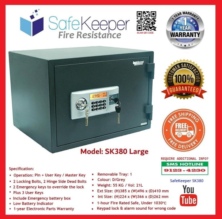 Designed to keep your documents and other valuables safe in the event of a Fire* 100% Brand New* SG Seller* 1 Year Local Warranty* Free Delivery* Satisfaction Guaranteed!