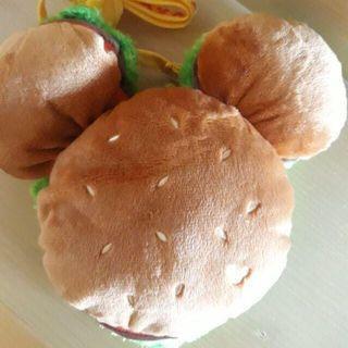 (全新)Disney 迪士尼 米奇漢堡 立體卡套 毛絨卡包 Mickey 日本帶回 票卡夾 零錢包 斜背小包 米老鼠