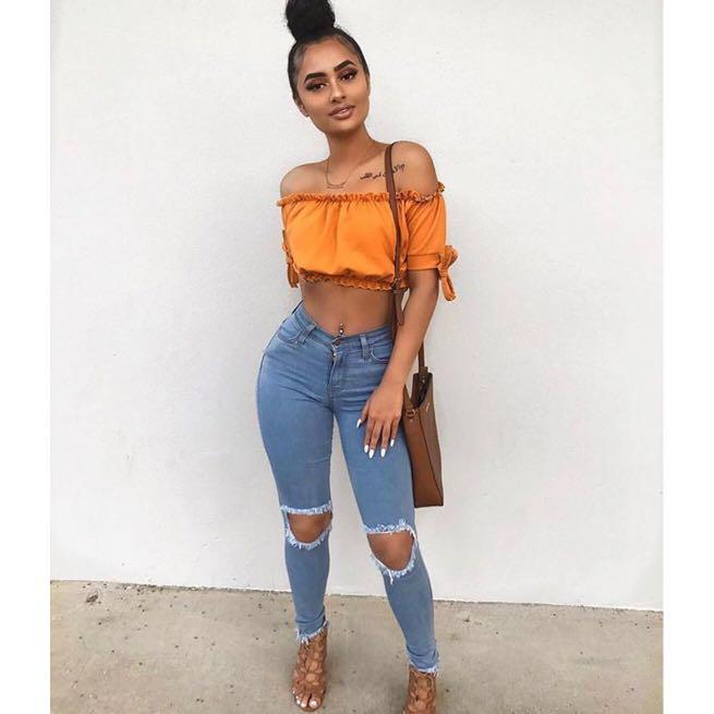 Fashion Nova Come Through Distressed Jean in Light Shell
