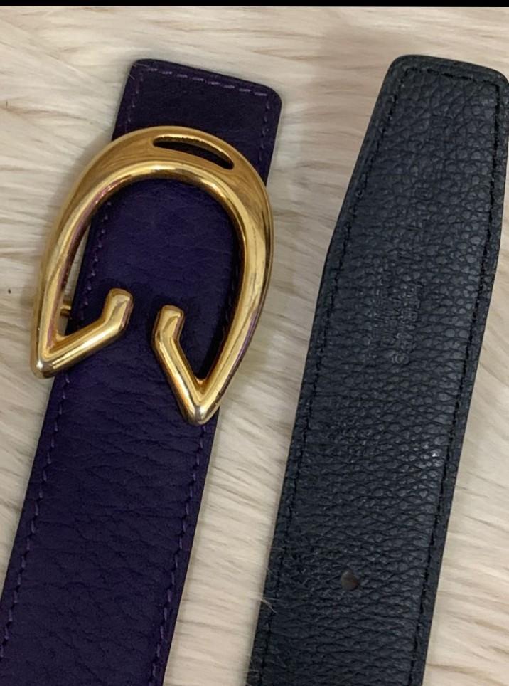 Gucci Belt Authentic Buckle, replacement belt (Genuine leather grade import, reversable bisa ungu dan Hitam)95×3cm