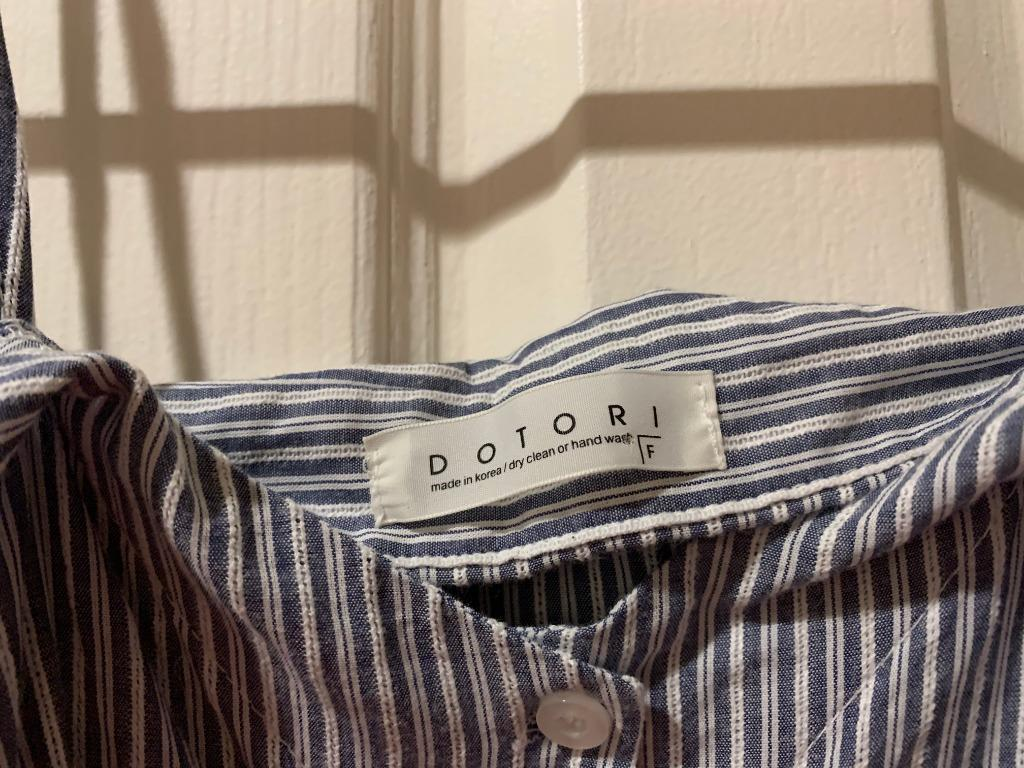 Made in Korea, Blue and White striped off the shoulder blouse