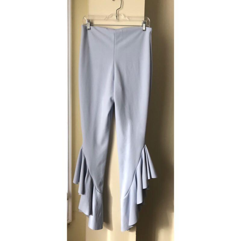 Missguided Blue Asymmetric Draped Ruffle Side Cigarette Pants