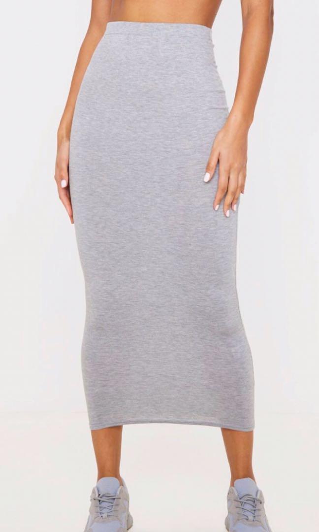 PLT grey maxi skirt