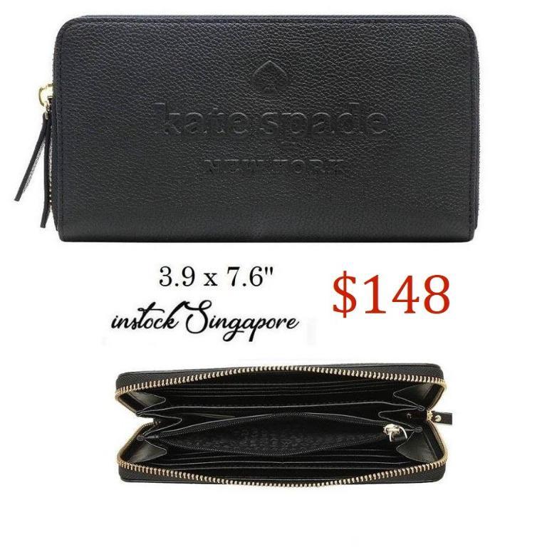 READY STOCK AUTHENTIC NEW Kate Spade New York Larchmont Avenue Logo Neda Black Pebble Leather Wallet WLRU5289
