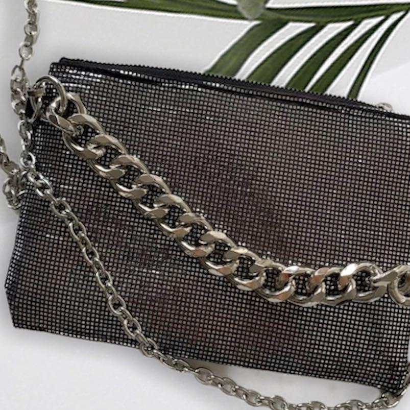 SHIPPING ONLY — silver sequin chain crossbody purse