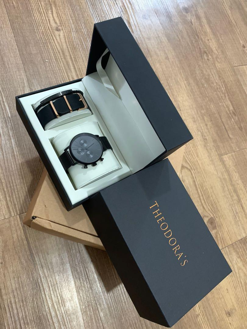 Adam's Christmas Gift Set - Apollo Matte Black Dial Black Milanese Strap Watch