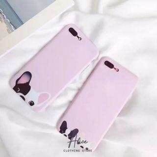 Alice現貨🎀韓系手機殼 iPhone 7/8保護殼 手機套 保護套 狗狗 韓系手機 純色 糖果色 素色