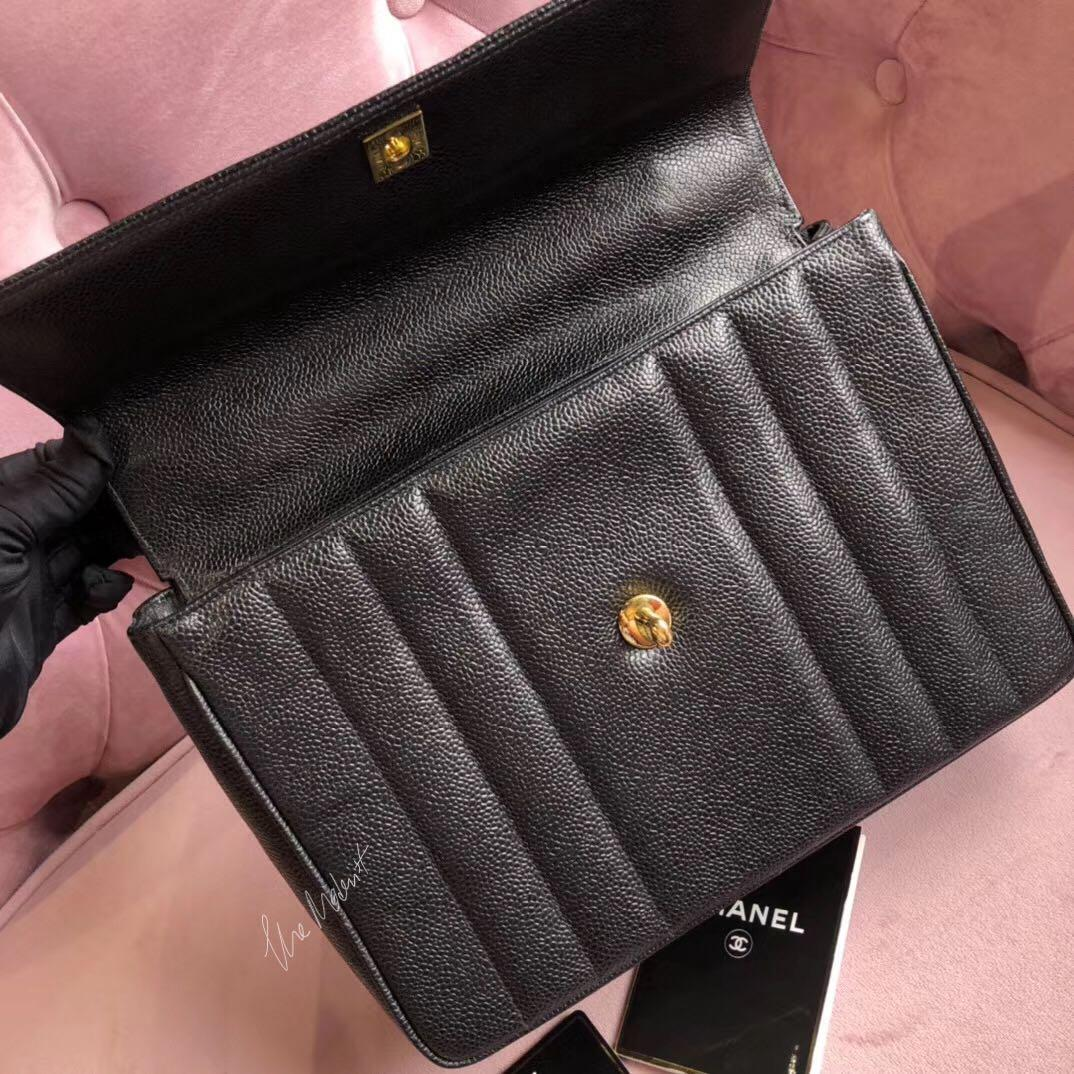 Authentic Vintage Chanel Timeless Vertical Top Handle Kelly Bag Black Caviar Leather 24K Gold Hardware
