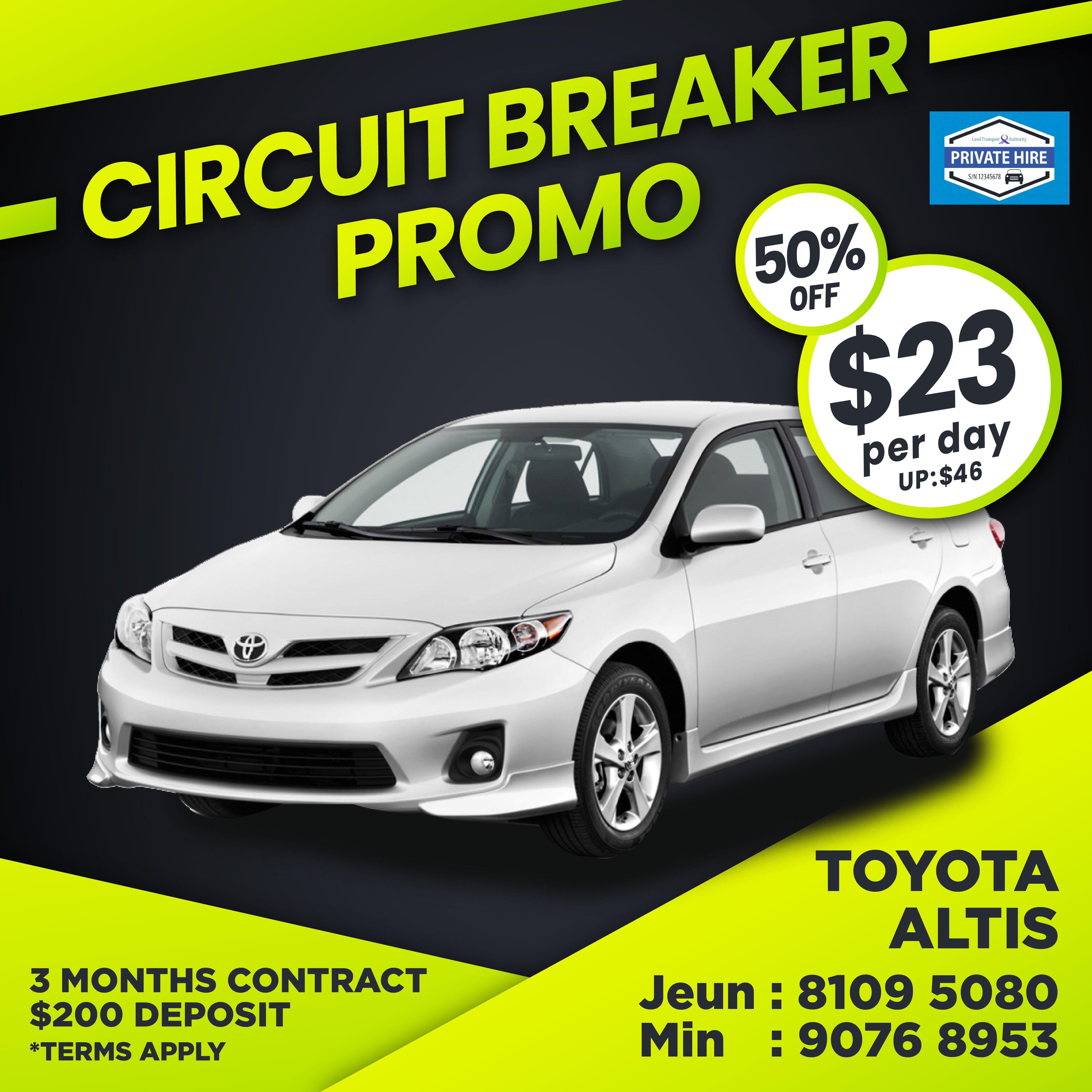 50% OFF - Toyota Altis                          ( Grab / PHV Car Rental )