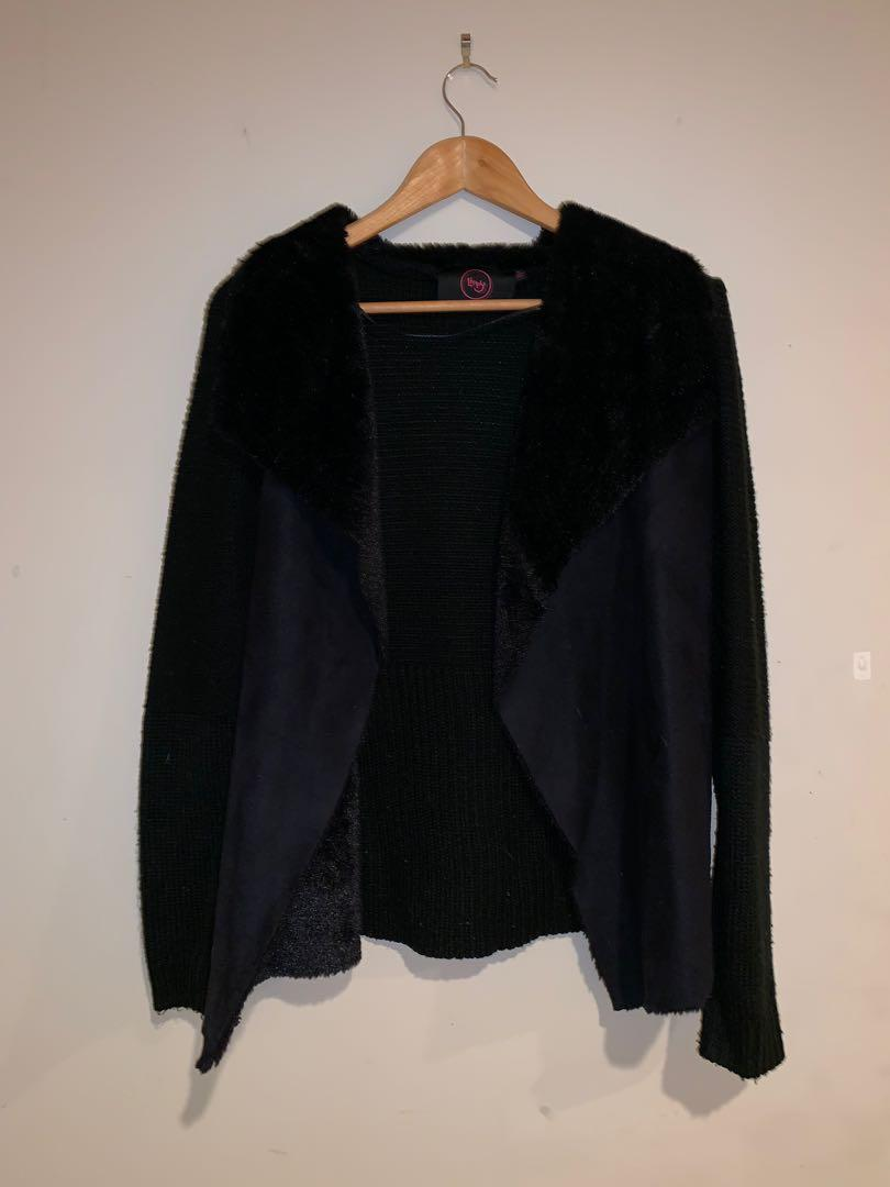 Black fluffy cardigan
