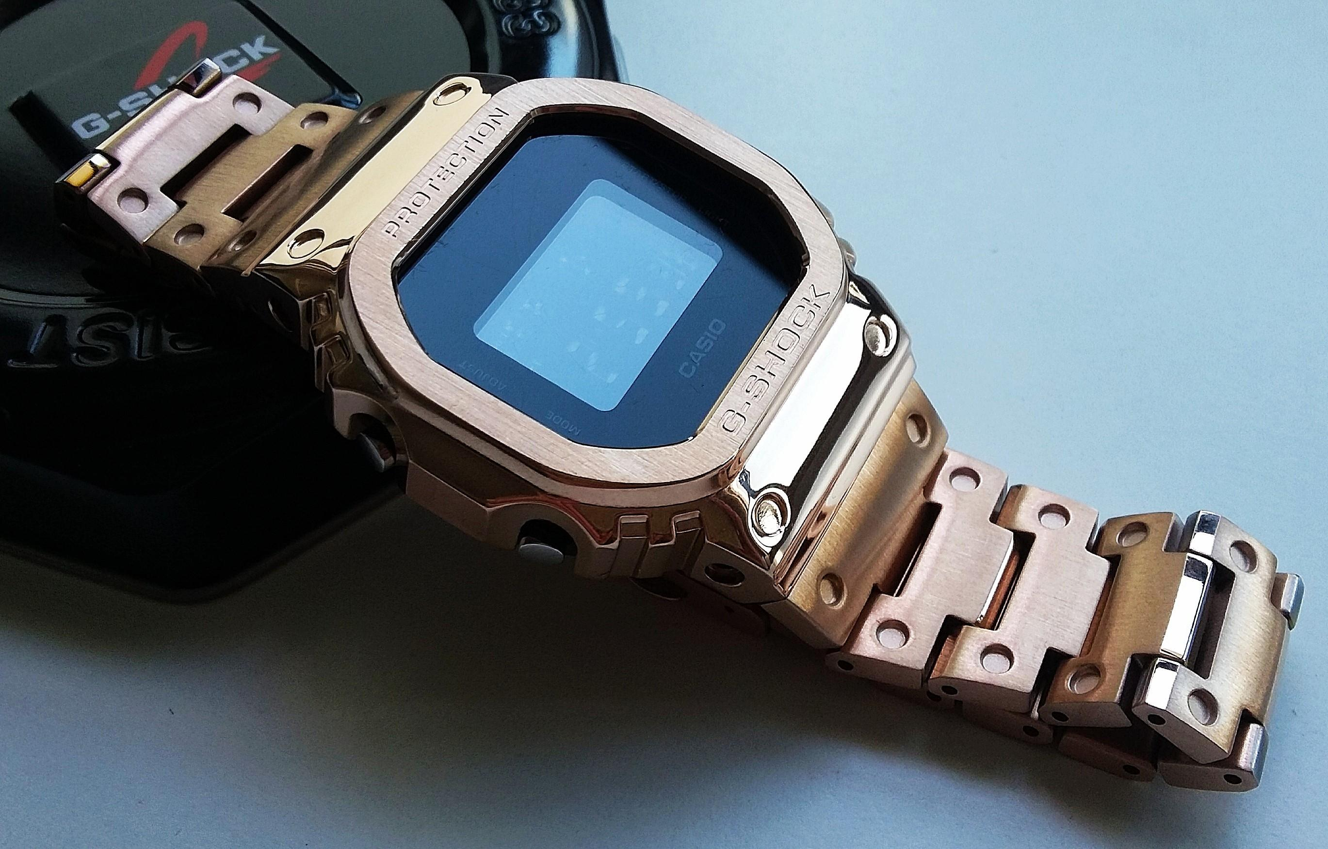CNC MACHINED ROSEGOLD PLATED 316L STAINLESS STEEL BEZEL CASE AND BRACELET FOR CASIO G-SHOCK DW5610, G 5600E, GW-M5610, GW-M5600, GLX-5600, GLS-5600, GW-M5630, GW-S5600, DW-D5600(PRICE INCLUDE M0DIFICATION)