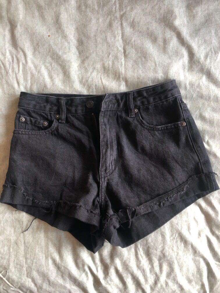 Denim black shorts