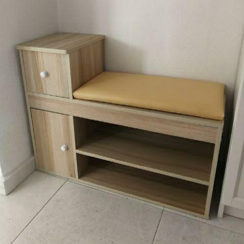 Diy Nordic Wooden Shoe Cabinet Pu Seat Furniture Shelves