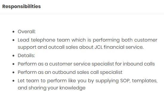In/out bound Sales &Customer Support Division Manager