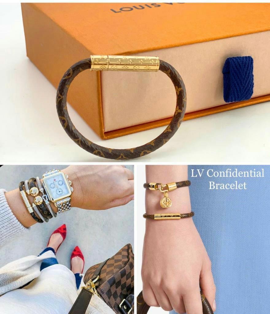 LV confidential bracelet monogram   •size 17 (panjang 17cm/ S) Ready •size 19 (panjang 19cm/M) Ready *size 15 (panjang 15cm/ XS) coming