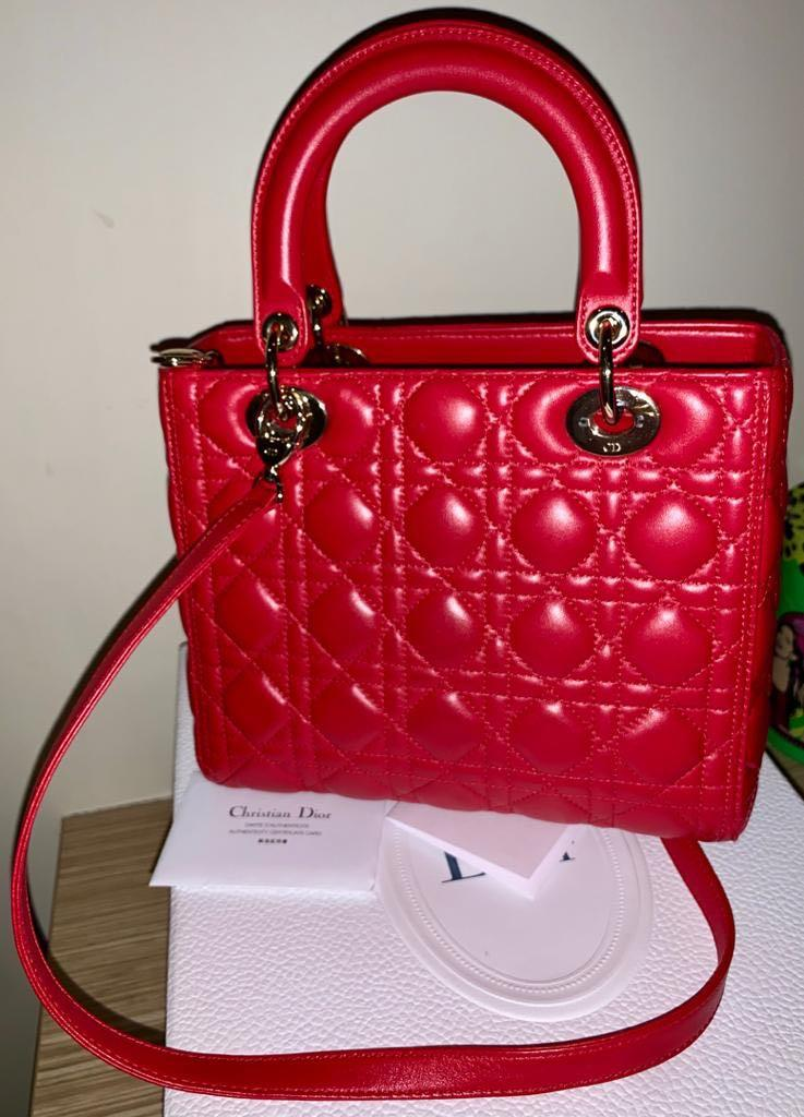 Authentic Christian Dior Medium Lady Dior GHW with box, receipt, card + scarf/tulle