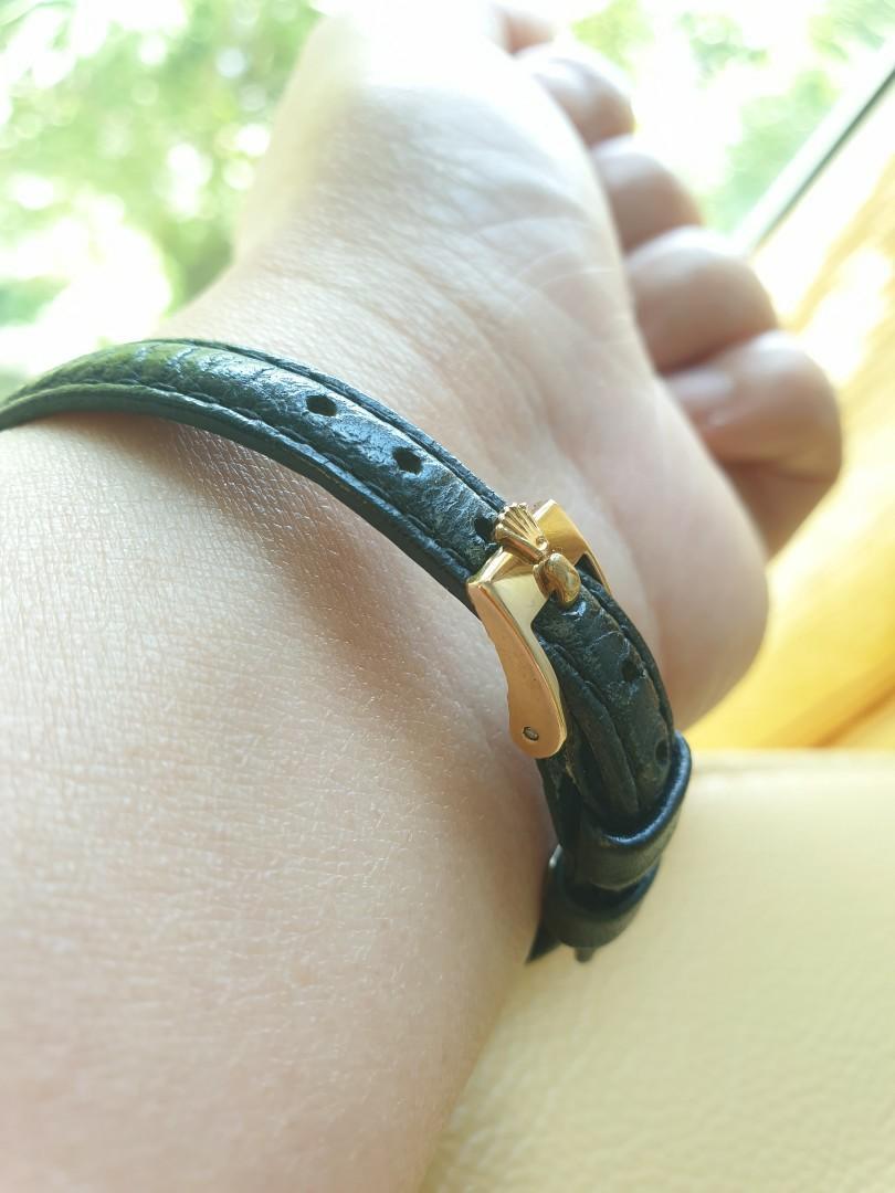 Rolex Orchid 18k Yellow Gold Black Leather Strap Vintage Ladies                                                                                        Rolex Tudor Cartier Omega Iwc AP Chopard Tag Heuer Apple