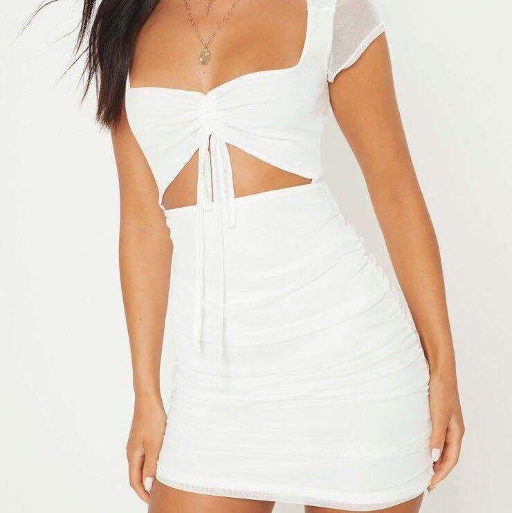 White fox mini white ruched dress