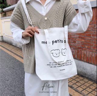Alice現貨🎀韓版斜背包    帆布包 可調式 手提包 女包 大容量文藝百搭 韓系包 購物袋 書包 提袋 環保袋