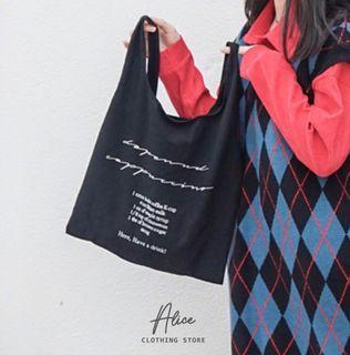 Alice現貨🎀棉麻背心包    韓系手提包 環保袋 日系購物袋 餐具袋 側背包 韓版百搭 便當袋 復古包 帆布包 帆布袋