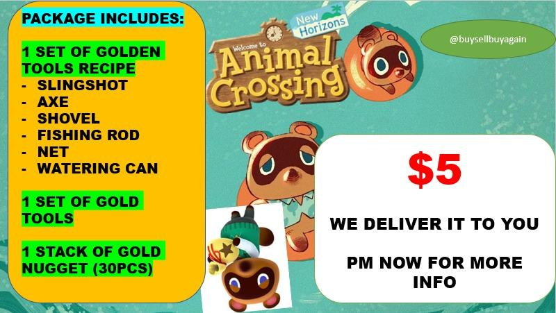 Animal Crossing Gold Tools Package Acnh Toys Games Video Gaming In Game Products On Carousell