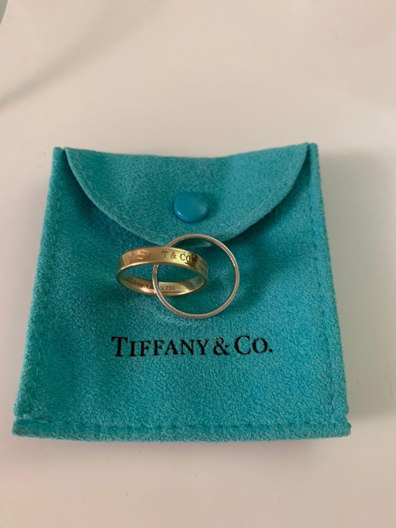 Authentic Tiffany & Co. 1837  interlocking rings 18K gold