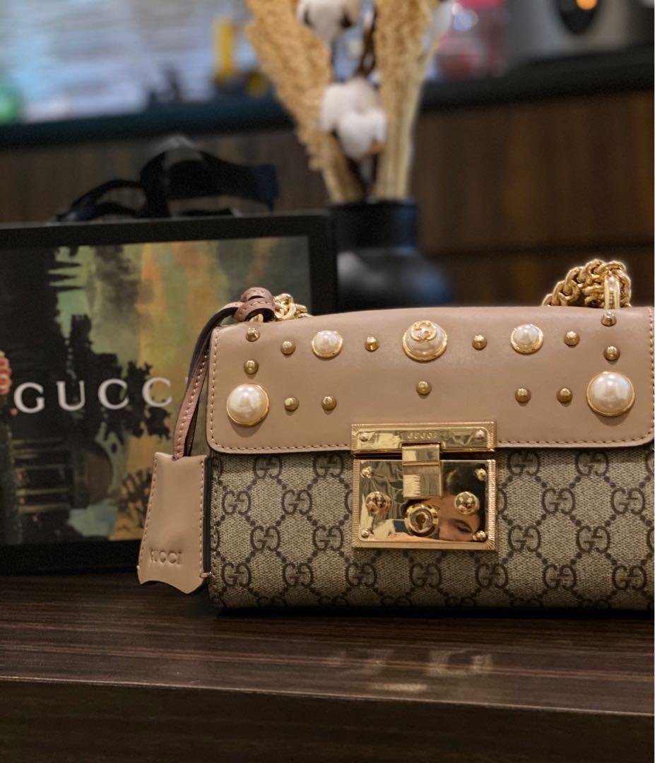 Gucci Pink Pink Small GG Supreme Pearl Shoulder Bag for Women *MIRROR ALMOST LIKE AUTHENTIC