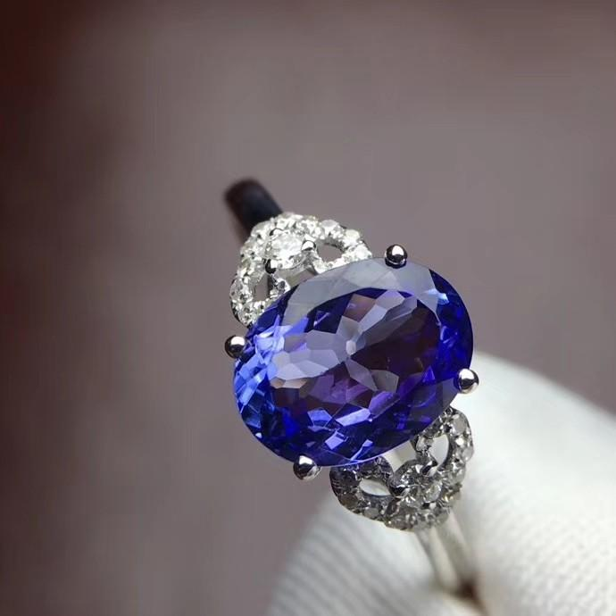 """Most beautiful natural  Tanzania stone ring """"the price"""", the main stone 8.5 * 6.6 mm """"gem"""" 14 # 2.2 ct ring ring can change to """"description"""" most beautiful 18 k platinum heavily enough anti drill, fit great, throw in the certificate, exquisite packaging!"""