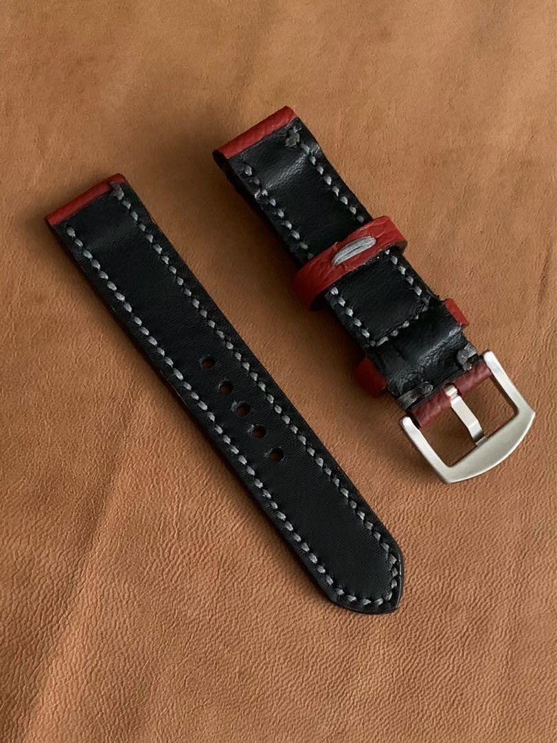 20mm/20mm Calf Leather Maroon Red Strap with Slate Grey Stitching and Comfortable Black Goatskin Lining Leather Watch Strap - 20mm@lug/20mm@buckle   (Length- L:120mm, S:75mm) (only 1 piece - once sold, no more👍🏻) -looks excellent on diver watches!