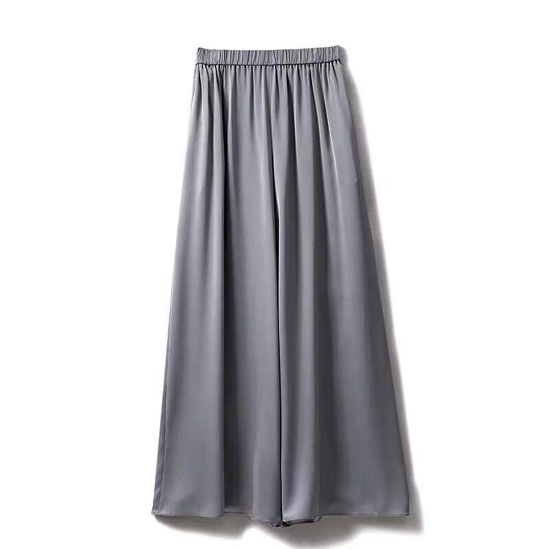NWT 93% Silk Wide Leg Crop Pants in Grey Size 40 Fits S M L